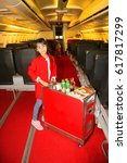 Small photo of Imagination of children.Children and learning.The child is playing as an air hostess.