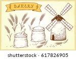 vintage hand drawn bakery set...   Shutterstock .eps vector #617826905