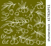 set of hand drawn olive branch...   Shutterstock .eps vector #617826911