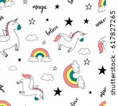 pattern unicorn vector for... | Shutterstock .eps vector #617827265