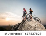 couple cyclist  man and woman ... | Shutterstock . vector #617827829