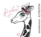 very cute giraffe girl with...   Shutterstock .eps vector #617829194