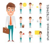 set of business man in... | Shutterstock .eps vector #617829401