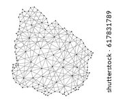 map of uruguay from polygonal... | Shutterstock .eps vector #617831789