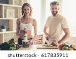 beautiful young couple is... | Shutterstock . vector #617835911
