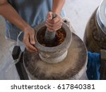 granite mortar and pestle with... | Shutterstock . vector #617840381