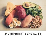 healthy food containing a lot... | Shutterstock . vector #617841755