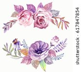 collection of watercolor... | Shutterstock . vector #617847854