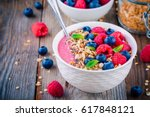 breakfast smoothie bowl  with... | Shutterstock . vector #617848121