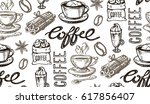 hand drawn coffee pattern.... | Shutterstock .eps vector #617856407