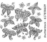 set of butterflies in doodle... | Shutterstock .eps vector #617858609