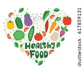 healthy vegetables food heart... | Shutterstock .eps vector #617859131