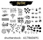 vector set of brush acrylic... | Shutterstock .eps vector #617860691