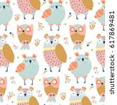 vector pattern with lovely cute ... | Shutterstock .eps vector #617869481