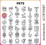 Stock vector pets concept detailed line icons set in modern line icon style concept for ui ux web app design 617870087