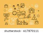 pets line icons illustration.... | Shutterstock .eps vector #617870111