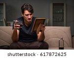 desperate man thinking of... | Shutterstock . vector #617872625