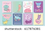 vector sketch style cute little ... | Shutterstock .eps vector #617876381
