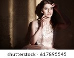 happy girl in long prom dress | Shutterstock . vector #617895545