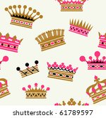 crown seamless pattern in retro ...