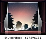 view of deep forest at sunset... | Shutterstock .eps vector #617896181