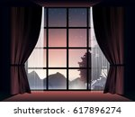 view of deep forest at dusk in... | Shutterstock .eps vector #617896274