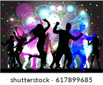 dancing people silhouettes.... | Shutterstock .eps vector #617899685