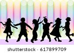 dancing children. silhouettes... | Shutterstock .eps vector #617899709