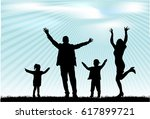 vector silhouette of family. | Shutterstock .eps vector #617899721