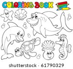 coloring book with marine... | Shutterstock .eps vector #61790329