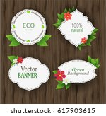 eco label with flowers.... | Shutterstock .eps vector #617903615
