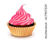 cupcake with pink cream... | Shutterstock .eps vector #617907329