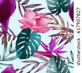 tropical flowers  jungle leaves.... | Shutterstock .eps vector #617907827