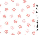 cats paw print. vector seamless ... | Shutterstock .eps vector #617910311
