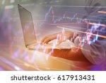 business executives working... | Shutterstock . vector #617913431
