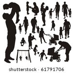 set of family silhouettes. | Shutterstock . vector #61791706