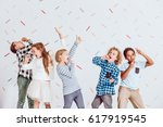 group of happy boys and girls... | Shutterstock . vector #617919545