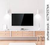 smart tv mockup with black... | Shutterstock . vector #617925764