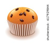 muffin with chocolate crumbs... | Shutterstock .eps vector #617929844