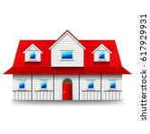wide two storey house isolated...