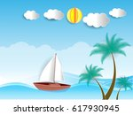 happy sunny day in summer time... | Shutterstock .eps vector #617930945