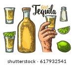 set for tequila. hand holding... | Shutterstock .eps vector #617932541