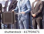 businessman or politician is... | Shutterstock . vector #617934671