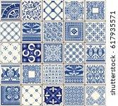 indigo blue flower azulejos... | Shutterstock .eps vector #617935571