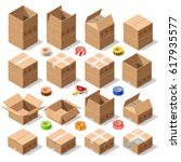 cardboard carton boxes pack set ... | Shutterstock .eps vector #617935577