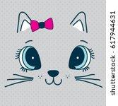 cute cat face  t shirt graphics ... | Shutterstock .eps vector #617944631