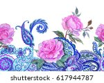 Roses And Paisley   Watercolor...