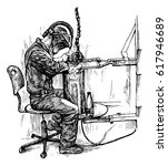 a realistic drawing of a welder ... | Shutterstock .eps vector #617946689