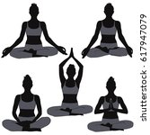 set of silhouettes of woman in... | Shutterstock .eps vector #617947079