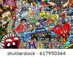 music collage on a large brick... | Shutterstock . vector #617950364